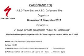 """7° Prova Circuito amatoriale """"Amici del Ciclocross"""""""